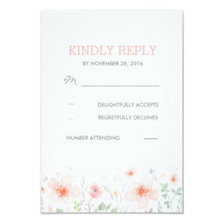 Watercolor Botanical Flowers Meadow Wedding RSVP 9 Cm X 13 Cm Invitation Card