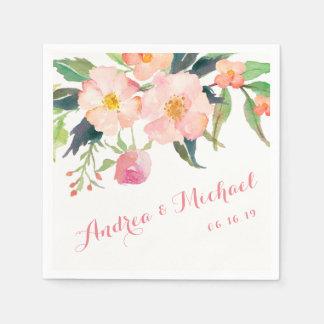 Watercolor Botanical Garden Floral Wedding Paper Disposable Napkin