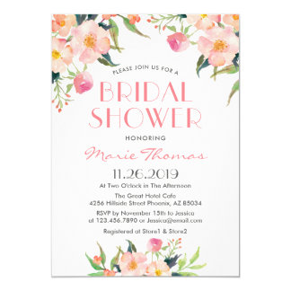 Watercolor Botanical Pink Floral Bridal Shower Card