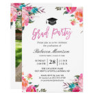 Watercolor Botanical Pink Floral Graduation Party Card