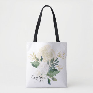 Watercolor Botanical Posy with Faux Gold Glitter Tote Bag