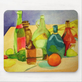 Watercolor Bottles Mouse Pad