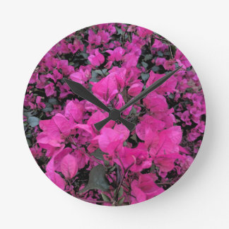 Watercolor-Bougainvillea Round Clock