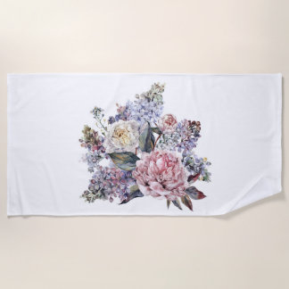 Watercolor Bouquet Beach Towel