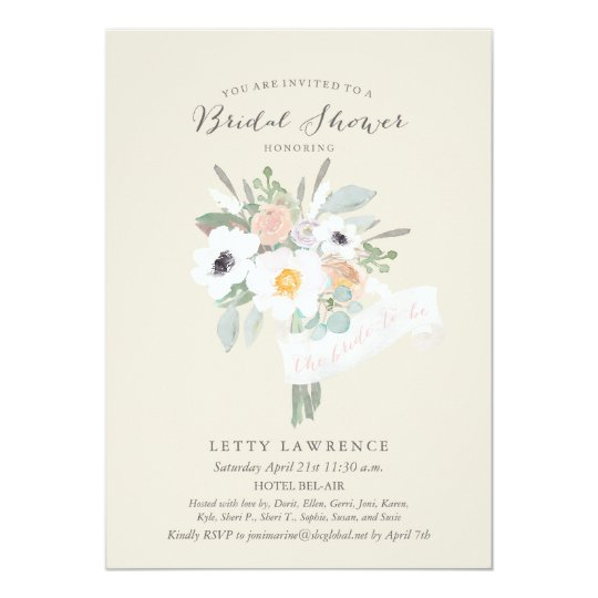 Watercolor Bouquet Bridal Shower Invitation