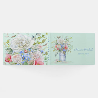 Watercolor Bouquet Garden Bucket Any Color Paper Guest Book