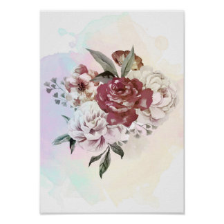 Watercolor bouquet of flowers poster
