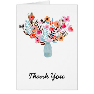 Watercolor Bouquet of Flowers Thank You Greeting Card