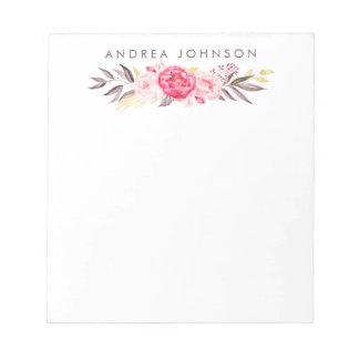 Watercolor Bouquet Personalized Designer Pad Memo Pad