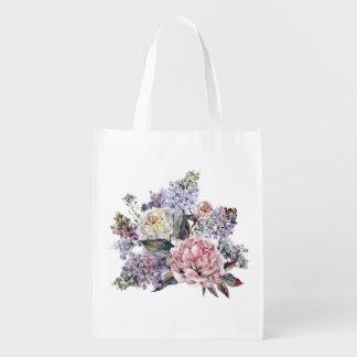 Watercolor Bouquet Reusable Grocery Bag