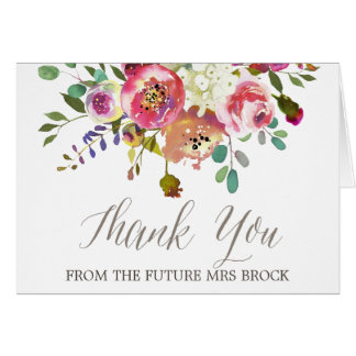 Watercolor Bouquet Thank You From the Future Mrs Card