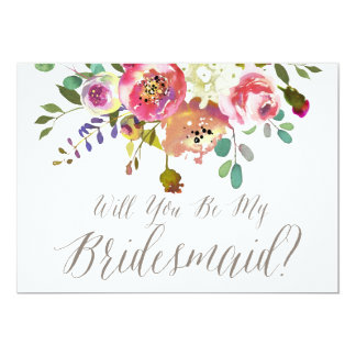 Watercolor Bouquet Will You Be My Bridesmaid Card