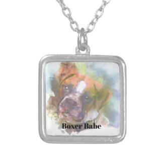 Watercolor Boxer Dog Silver Plated Necklace