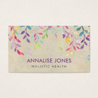 Watercolor branches on vintage paper business card