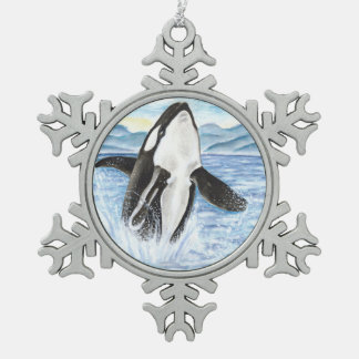 Watercolor Breaching Orca Whale Snowflake Pewter Christmas Ornament