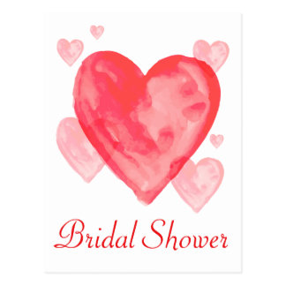 Watercolor Bridal Shower Red Pink Heart Invitation Postcard