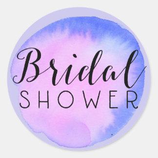 Watercolor Bridal Shower Splot Classic Round Sticker