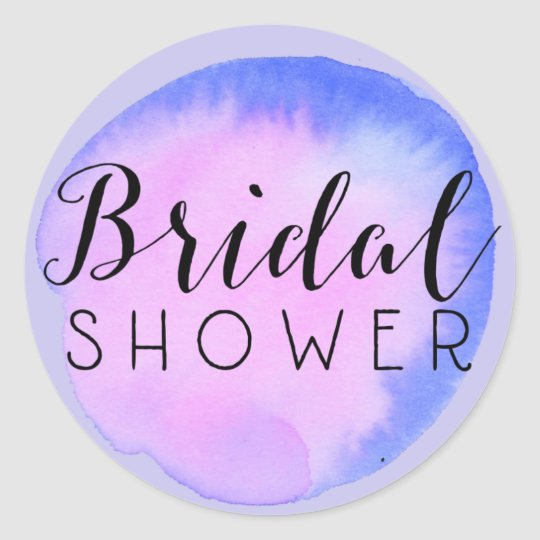 Watercolor Bridal Shower Splot Classic Round Sticker