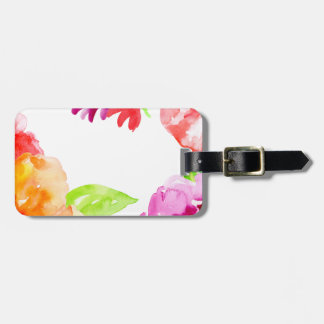 Watercolor Bright Red and Orange Flowers Luggage Tag