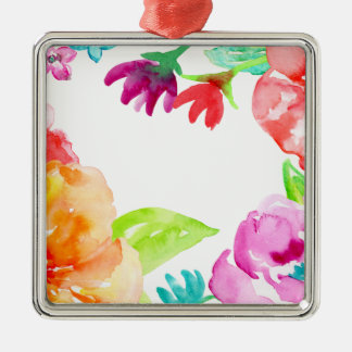 Watercolor Bright Red and Orange Flowers Metal Ornament