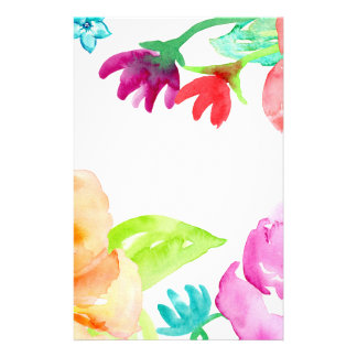 Watercolor Bright Red and Orange Flowers Stationery