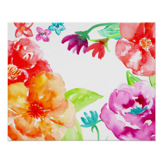 Watercolor Bright Red Flower Frame Poster