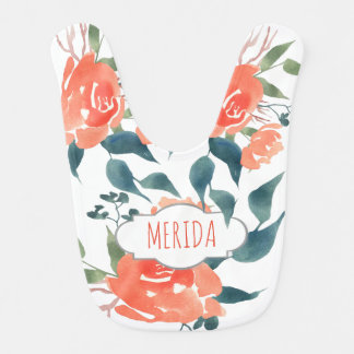 Watercolor Bright Red Flowers Cute Girly Bib