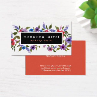 Watercolor Bright Red Purple Floral Bunch Business Card