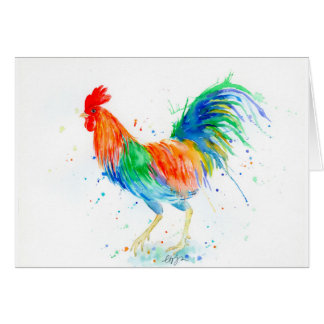 Watercolor Bright Rooster Print Card