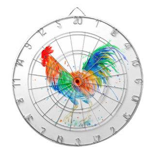 Watercolor Bright Rooster Print Dartboard