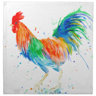 Watercolor Bright Rooster Print Printed Napkin