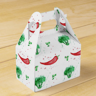 Watercolor broccoli and red hot chilly peppers favour box