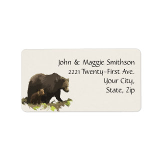Watercolor Brown Bear Animal Nature Art Address Label
