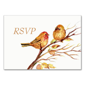 Watercolor Brown Red Birds RSVP Card