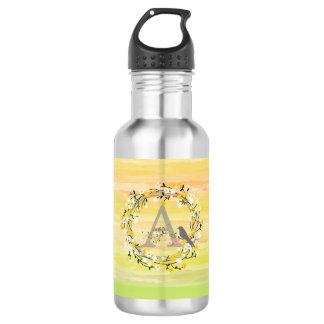 Watercolor Brush Lines, Spring Wreath Monogram 532 Ml Water Bottle
