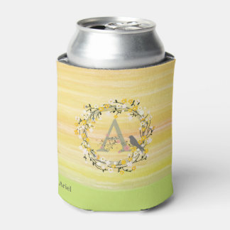 Watercolor Brush Lines, Spring Wreath Monogram Can Cooler