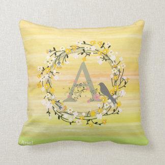 Watercolor Brush Lines, Spring Wreath Monogram Cushion
