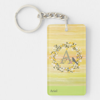 Watercolor Brush Lines, Spring Wreath Monogram Double-Sided Rectangular Acrylic Key Ring