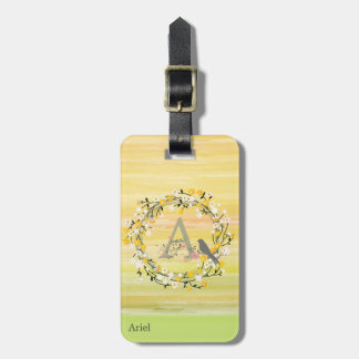 Watercolor Brush Lines, Spring Wreath Monogram Luggage Tag