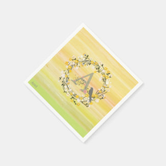 Watercolor Brush Lines, Spring Wreath Monogram Paper Napkins