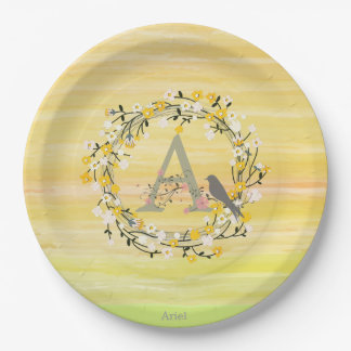 Watercolor Brush Lines, Spring Wreath Monogram Paper Plate