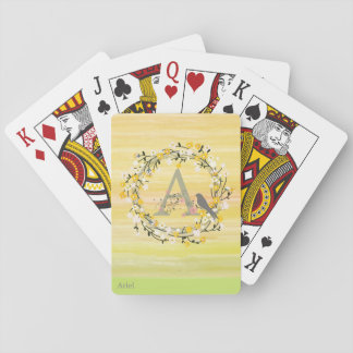 Watercolor Brush Lines, Spring Wreath Monogram Playing Cards