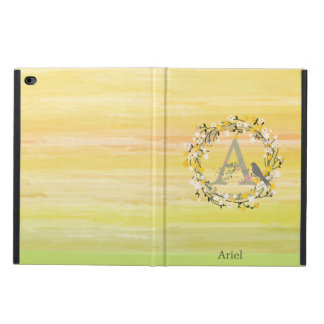 Watercolor Brush Lines, Spring Wreath Monogram Powis iPad Air 2 Case