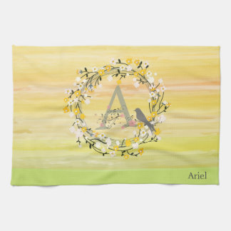 Watercolor Brush Lines, Spring Wreath Monogram Tea Towel