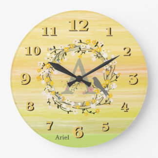 Watercolor Brush Lines, Spring Wreath Monogram Wall Clock