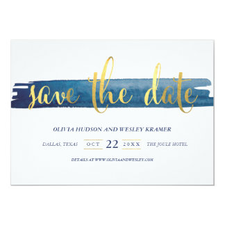 Watercolor Brush Stroke Foil Save the Date 13 Cm X 18 Cm Invitation Card