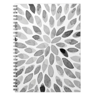 Watercolor brush strokes – black and white notebook