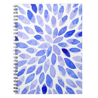 Watercolor brush strokes - blue notebook