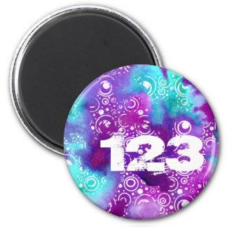 Watercolor Bubbles Purple/turquoise 6 Cm Round Magnet