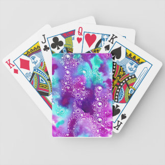 Watercolor Bubbles Purple/turquoise Bicycle Playing Cards